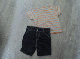 523 Shirt grau Orange mit kurzer dunkel grauer Shorts von TOPOMINI