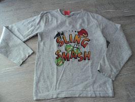 234 LA Shirt grau mit Angry Birds von RESERVED 3 mini Flecken vorhanden Gr. 122/128