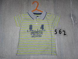 562 Polo T-Shirt gelb grau gestreift Gr. 80