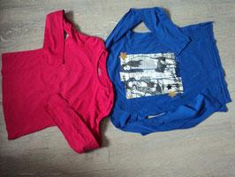 3177 LA Shirt Set lila mit Girls Glitzer und Strasssteine , LA Shirt Uni pink  Gr. 140