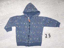 25 Kapuzen Sweatjacke blau mit Zahlen Gr. 80