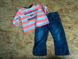 AL-46 Zusammengestelltes Set LA Shirt weiß/neon pink gestreift Sponsored by Mummy! Von DOPODOPO-Jeans blau von VERTBAUDET Gr. 74