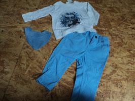 AL-45 Zusammengestelltes Dreieckstuch mit Druckknopf gestreift Set LA Shirt weiß/blau  Mummy&Daddy=Me von DOPODOPO-Jeans hellblau-enger stellbar von H&M Gr. 74