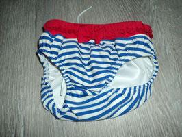 3134 Schwimmhose Steif rot, weiß blau gestreift mit Schleife und hinten großer Steiffbär  Gr. 74