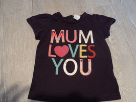 2762 Shirt dunkel lila Mum Loves you von H&M Gr. 74