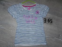 365 Shirt blau weiß gestreift mit pinker Glitzerschrift von CaKE WALK  Gr. 104