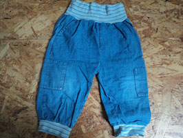 AL-24 Leichte Shorts aus Jeansstoff mit gestreiften Bauch und Bein Bündchen-hinten Looney Toons Appli von LOONEY TOONS Gr. 86