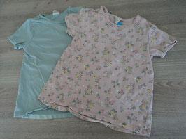 SK-108  Set Shirts pastellpetrol und altrose mit Blumen von H&M Gr. 98
