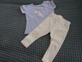 F-116 Zusammengestelltes Set Shirt lila mit Herzchen von FEETJE Leggind hell gestreift -Knie Herz  von HEMA Gr. 68