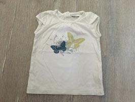 1836 Shirt weiß mit Schmetterlinge glitzern von VERTBAUDET Gr. 74