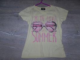 343 Shirt gelb mit Herzbrille Summer Gr. 134/140