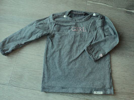 SK-5 LA Shirt grau/blau weiß gestreift mit der Aufschrift Girl von NOPPIES Gr. 74