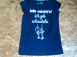 F-75 Shirt dunkelblau mit Mädchen auf Schaukel und Spruch *Mir reicht's! Ich geh Schaukeln* in weiß von K-Town Gr. 110/116