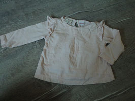 2291 Süsses LA Shirt in altrose mit Spitzenschleife Rüschen und Schmetterlinge Stickereien von ZARA Gr. 68