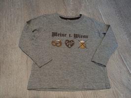 2804 LA Shirt grau mit Brezn Lebkuchenherz und Maaß Meine 1. Wiesn Gr. 92