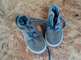 445 Knöchelhohe Leder Schuhe in grau/braun mit Petrol Gr. 25