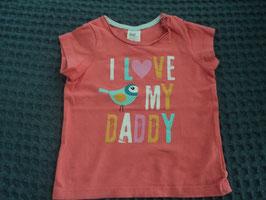 F-125 Shirt korall mit Vogel *i Love my Daddy* von H&M Gr. 68