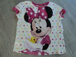 SS-16 Shirt weiß mit bunte Punkte-Minnie Mouse und Entchen von DISNEY Gr. 104