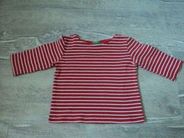 2564 LA Shirt weiß rot gestreift von BENETTON Gr. 80/86