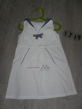 1719 Sommerkleid weiß mit Winnie Pooh Maritim Style von H&M  Gr. 116
