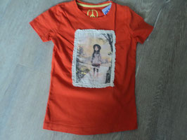 3239 Shirt orange mit Mädchen , Umrandung gehäkelt von TOM TAILOR Gr. 104/110