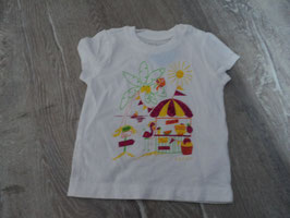 969 Shirt weiß Strand Sonne Palme Flamingos Glitzer von ESPRIT Gr. 74