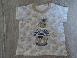 2279 Shirt mit Giraffe in blau beige Töne von BENETTON Gr. 56