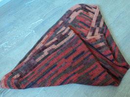2388 Selbst gestrickte Decke in tollen rot braun Töne aus guter BIO WOLLE