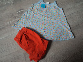 3024 Hängerchen Blumen blau von OILILY mit kurzer Leggins orange  Gr. 80