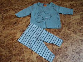 SV-29 Zusammengestelltes Set LA Shirt in mint mit Nilpferde von PUSBLU-gestreifte Hose von VERTBAUDET Gr. 56