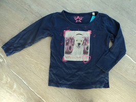 SS-25 LA Shirt dunkel lila mit Hund und pinken Pailletten von TOM TAILOR Gr. 92/98