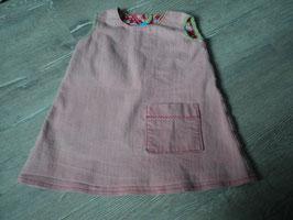 3044 Handmade Jeanskleid altrose mit Tasche hinten Knopf Gr. 98/104