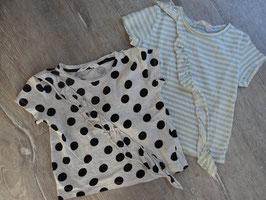 SS-7 Set Shirt pastel/mint,weiß gestreift -grau,schwarze Punkte-vorne Rüschen von H&M Gr. 98/104