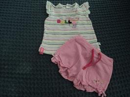 F-23 2 tlg. Set Shirt gestreift *Belle* und kurze Shorts in rosa von KANZ Gr. 68