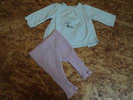 SR-163 Zusammengestelltes Set LA Shirt weiß mit Robbe-Leggings in rosa Gr. 62