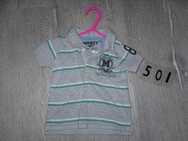 501 Polo T-Shirt grau gestreift mit Mickey mouse Gr. 68