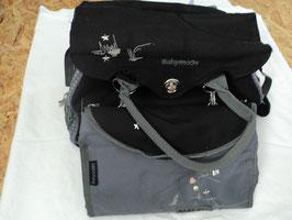 493 Wickeltasche schwarz grau -sehr gerne benutzt worden-Schnullertäschchen-Flaschenwärmer-Wickelunterlage mit Decke von BABYMOOVE