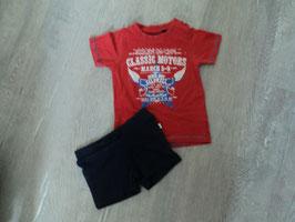 1233 Set Shirt rot 86  Classic Motors, kurze Hose von BLUE SEVEN  dunkel blau Gr. 86/92