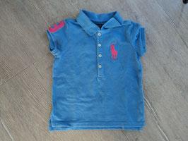 SS-162 ✿Poloshirt in einem schönen hellblau mit pinken Polospieler und der Zahl 3 von RALPH LAUREN ✿ Gr. 92/98