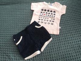 F-51 2 tlg. Set Shirt rosa mit Sterne, kurze Shorts dunkelblau von LITTLE GIRLSTAR Gr. 68