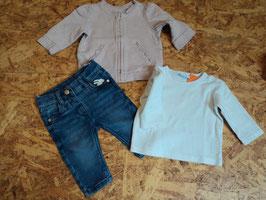SR-162 Zusammengestelltes Set LA Shirt weiß-Treggings in blau (enger stellbar)-Jäckchen in altrose von H&M,C&A Gr. 62