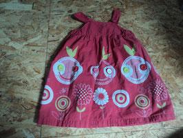 L-10 Tolles Kleid in korallfarben mit Blumen und Kreise- kann man unten noch nach oben Knöpfen als Shirt von VERTBAUDET Gr. 94