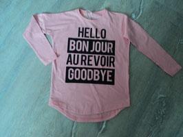 3241 LA Shirt rosa mit schschwarzer Schrift unten abgerundet von NAME IT Neu mit Etikett  Gr. 122/128