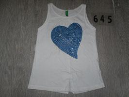 645 Tolles Shirt weiß mit blauem Herz glitzer von BENETTON  Gr. 100