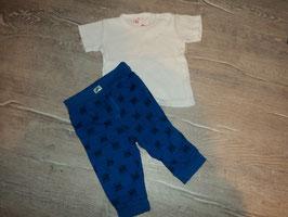 2685 Von mir zusammengestellte Kombi Hose blau Hund mit Knochen von EAT ANTS ,Shirt weiß von BO WIRBELWIND Gr. 68