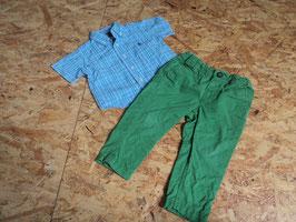 AL-40 Set zusammengestellt Hemd blau/grün karriert von RALPH LAUREN Gr. 74-Chino in grün-enger stellbar von H&M Gr. 74