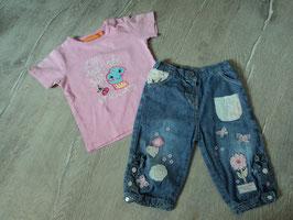 779 Jeans Mädchen blau rosa Blumen und Shirt rosa Zum anbeissen süß von Staccato Gr. 68/74