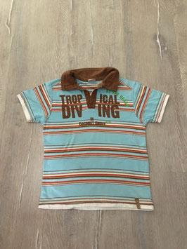 2018 Shirt mit Kragen gestreift türkis braun von WE Gr. 122/128