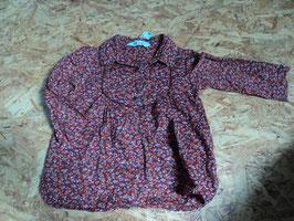 L-7 Blusenkleidchen in schönen rottönen -Häkelborde und Knöpfe-Seitentaschen von H&M Gr. 92