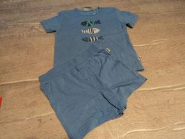 2688 Set Shirt blau mit Fische Gr. 80 kurze Shorts blau Gr. 86 von EAT ANTS